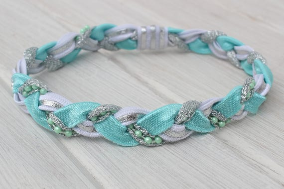 Turquoise Headband, White Headband, Baby Headband, Pearls Headband, Silver Headband, Infant Headbands, Newborn Headband, Baby Girls Gifts