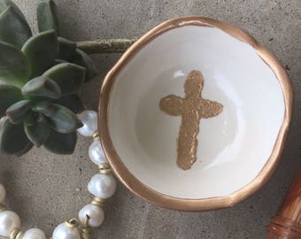SMALL gold cross jewelry dish //engagement ring dish / ring dish / unique gift / bridesmaid gift /wedding gift / hostess gift