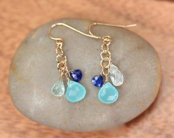 Gemstone earrings - gold dangle earrings - chalcedony drop earrings - party earrings - lapis earrings - aquamarine earrings