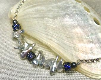 Japanese Akoya Keshi Pearl and Kyanite Sterling Silver Necklace