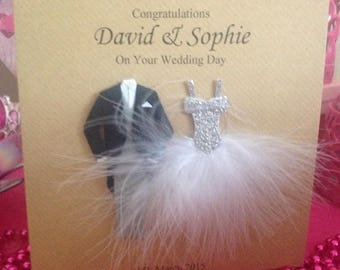Congratulations Wedding Card,  Couple, Bride and Groom, Feather Dress Suit, Daughter, Any Name, Wedding Card Personalised Daughter Son