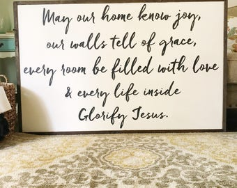 May Our Home Know Joy sign, family, calligraphy, strength bible verses, home decor
