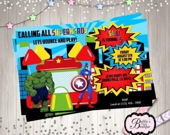 Superhero Bounce House Birthday Invitation,Super Hero Digital Invitation, Printable, DIY Birthday Invitation