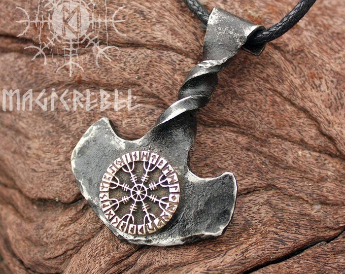 NEW ITEM! ~ Forged Iron Twisted Handle Mjolnir Bronze Aegishjalmur Helm of Awe Futhark Handmade Viking Thor Hammer Pendant FM8