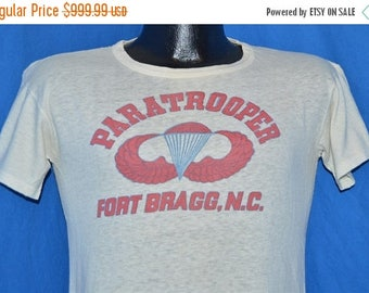ON SALE 40s Paratrooper Fort Bragg Jump Wings Stencil WWII t-shirt Small