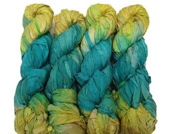 SALE New! Recycled Sari Silk Ribbon, color: Aqua/Lemon