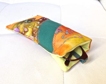 101 - Quilted, orange green glasses case