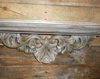 Vintage Shabby Chic Wood Wall Console Shelf Hollywood Regency Wall  Sconce Shelf