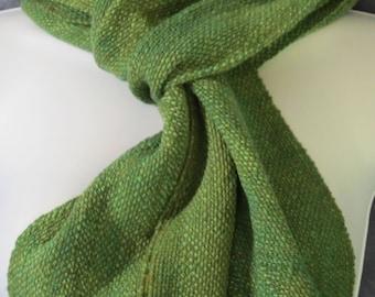 Granny Smith - Hand woven, hand spun wool scarf