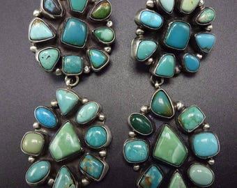Spectacular ELLA PETER Navajo TURQUOISE Cluster Sterling Silver Earrings Huge