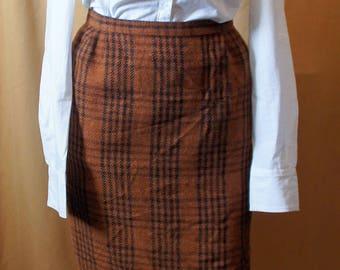 Camel Plaid pencil skirt. Vintage 1940-1950's style