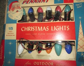 VINTAGE 15 Light Multiple Outdoor Set. Pennant Christmas Lights. Outdoor Christmas Lights in Original Box