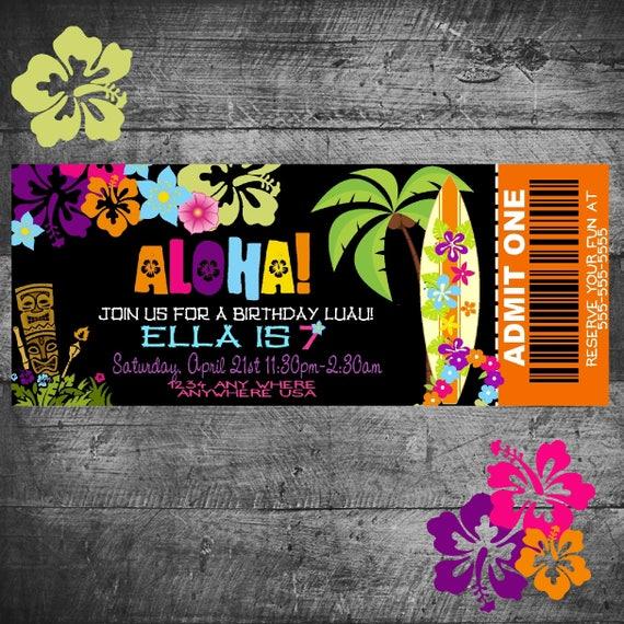Hawaiian Birthday Invitation Pineapple Luau Party Invitation