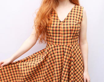Orange and Black Gingham Check Dress Size 10-12 Circle Dress Sleeveless dress by The Emperor's Old Clothes