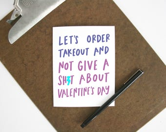 Let's get takeout... card - Valentine's Day greeting card - mature love card for adults - Valentine for boyfriend or husband