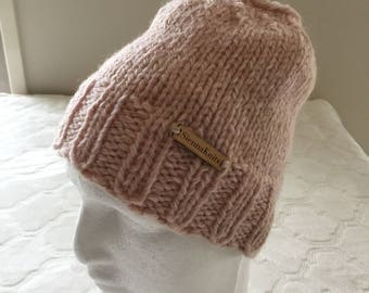 Messy bun beanie, women's light pink alpaca knit beanie, alpaca knit hat, wool knit beanie, wool knit hat.