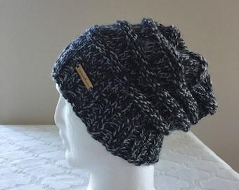 Grey wool and alpaca women slouchy handmade knitted beanie, knit beanie, women knit hat, handmade knitted beanie, grey slouchy beanie
