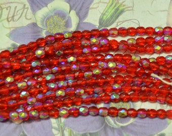 4mm Ruby Red AB faceted Czech glass beads strand new old stock  DIY Jewelry Making Altered Art