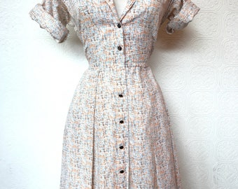 1960's Button Down Sketch Print Cotton Dress