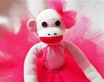 Sock Monkey Prima Ballerina Doll Toy Stuffed Animal Handmade Rockford Red Heel Socks