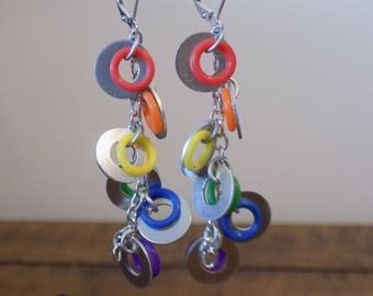 Lever Back Chain Rainbow Washer Earrings