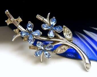 Vintage Crown Trifari Pat Pend Light Blue Rhinestone Flower Brooch