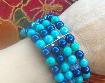 Stacked beaded bracelet, teal bracelet, aqua bracelet,beach bracelet, stretch bracelet