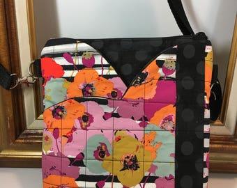 POPPIES~Hipster~CROSSBODY BAG~Credit Card Insert~Black Polka Dot Floral~ Shoulder Bag~Travel Bag~ Bags & Purses~Handbags~Handmade Bag