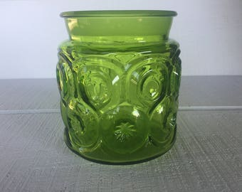 Good Vintage Moon And Stars LE Canister, Smith Green Glass Jar, Moon And Stars,