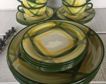 1940\u0027s Green Gingham Dinnerware Metlox Vernonware Yellow Green Gingham Dishes Hand Painted 4 pc Place settings & Vintage Nancy Calhoun Dinnerware Dishes vintage 1980s dish