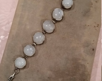 Edwardian Antique Moonstone Sterling Bracelet