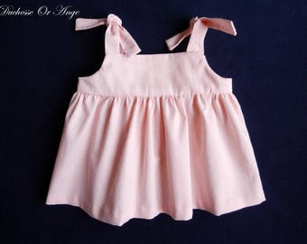 Top strapless cotton pique baby pink with white polka dots - 2 years