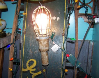 OLD Industrial Caged Trouble Lamp Light Hook Ceiling Wall Mount  McGill MFG CO