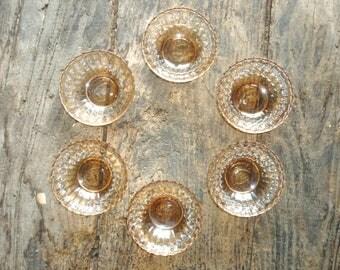 Six Condolo pearlised/ irridised peach glass dessert bowls