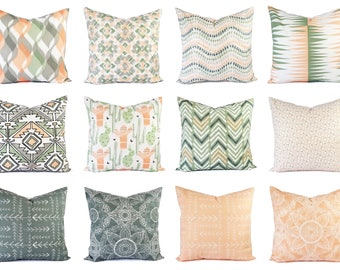 One Throw Pillow Cover Peach and Green - 16 x 16 Inch 18 x 18 Decorative Pillow - Peach Pillow - Green Pillow -  Grey Pillow Covers