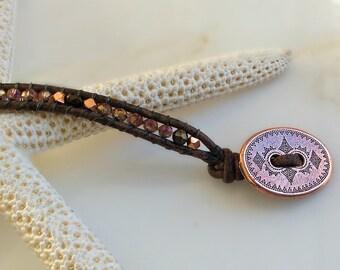 Slim Rose Gold Tribal Leather Wrap - Boho Leather Bracelet, Leather Wrap Bracelet, Bohemian Bracelet, Boho Jewelry