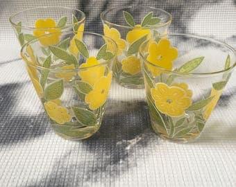 Vintage Culver Yellow Flower Tumblers