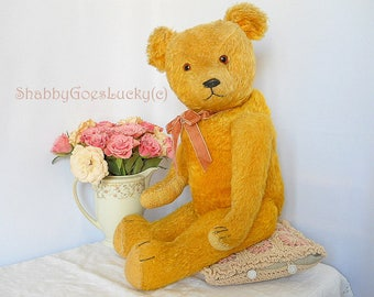 Antique teddy bear made in 1920s Germany, 20 inches tall restored golden yellow mohair bear with hump + long arms
