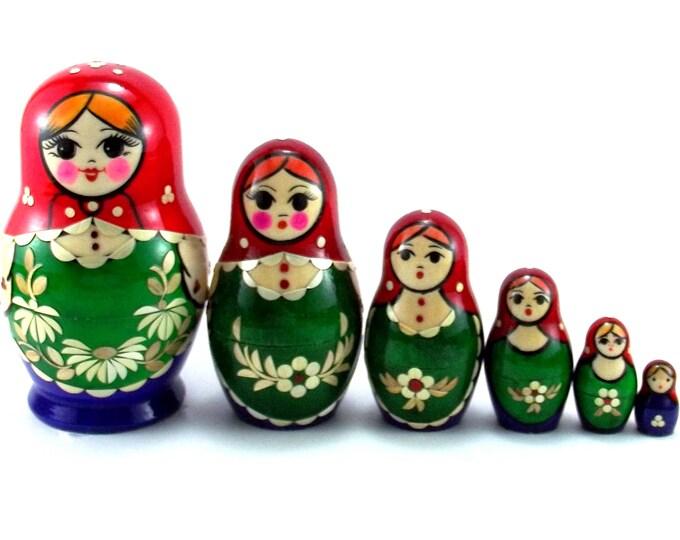 Nesting Dolls 6 pcs Russian matryoshka Babushka doll for kids set Wooden stacking authentic genuine toys Birthday gift for mom Inlaid
