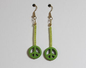 Peace Sign Dangle Earrings with color variations