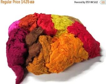 SALE Hand Dyed Silk Noil Mix (warm colours)