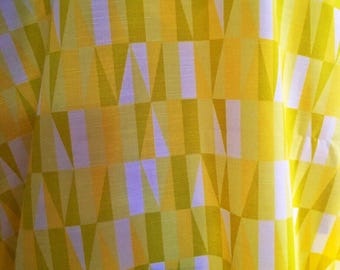 Swedish 50s, geometric fabric. Sven Markelius, Prisma yellow vintage fabric. Scandinavian design, mid century modern pattern. Collectible.