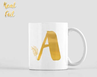 Gold foil mug, Monogram mug, Personalized mug, Initial mug, Birthday gift, Unique coffee mug, Kitchen decor, Easter gift, FMfp004G