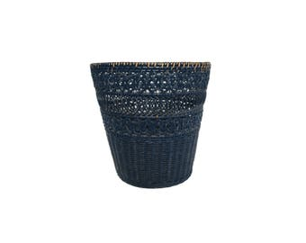 Vintage Blue Woven Wicker Waste Basket