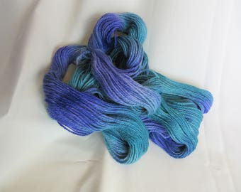 Hand Dyed/Painted - Sapphire Blue, Teal and Violet - 3 Ply DK Weight Alpaca Yarn - 4.3 oz. - 250 Yds - 12-14 WPI