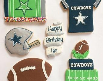 Dallas Cowboy Football themed Birthday Sugar Cookies