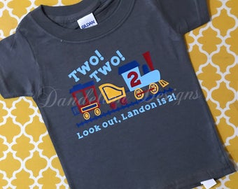 2nd Birthday Shirt Two! Two! Train Personalized Second Choo Choo Train Theme Two-Two