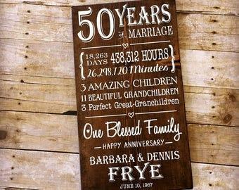 50th Wedding Anniversary Gift, 50 Year Anniversary, Gifts for Parents, Milestone Anniversary, Custom Wood Sign, Golden Anniversary