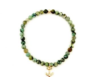 Anchor Bracelet, African Turquoise, Beach Bracelet