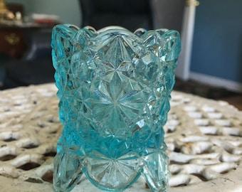 Footed Art Glass Blue Glass Fenton Toothpick Holder Sun Catcher